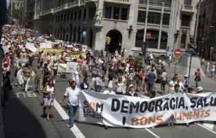 barcelona se moviliza contra los transgénicos