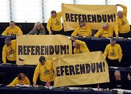Protesta en Parlamento Europeo contra Tratado Lisboa