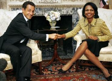 Condoleezza Rice y Nicolás Sarkozy