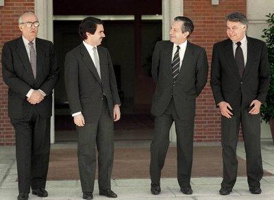 Adolfo Suarez, Leopoldo Calvo Sotelo, Felipe González, José María Aznar