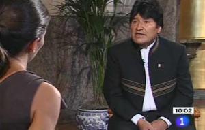 evo morales para TVE y Ana Pastor